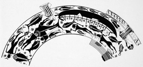 Scena di naufragio su coppa arcaica proveniente da Ischia