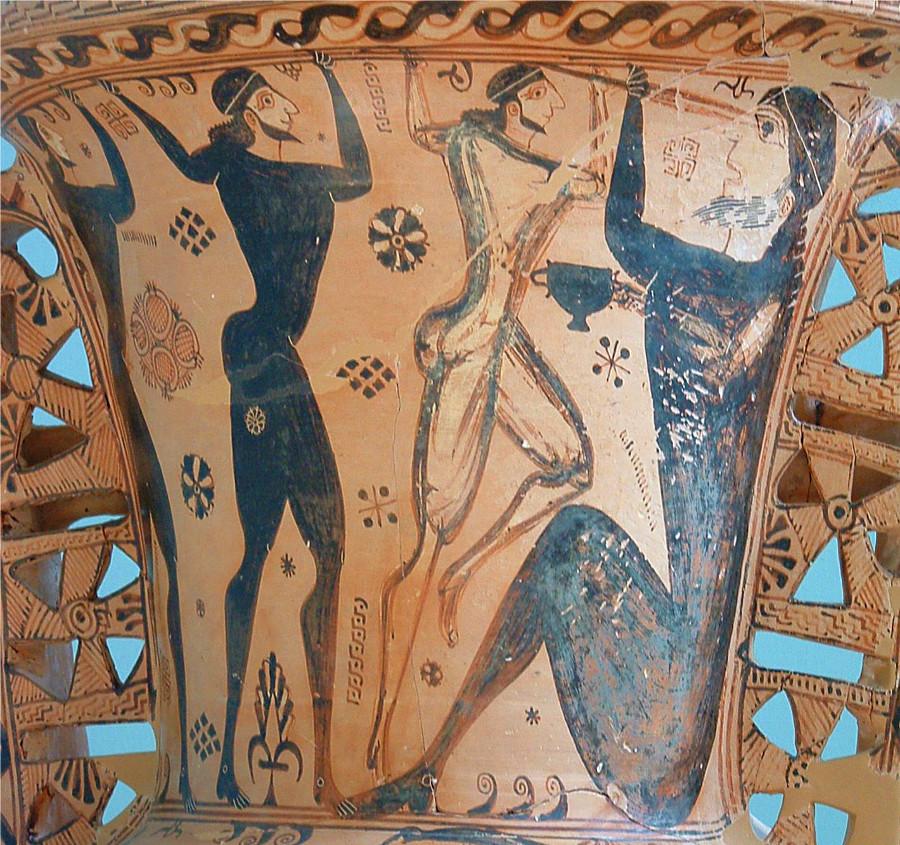 Odisseo e i compagni accecano Polifemo (cratere arcaico a figure nere)